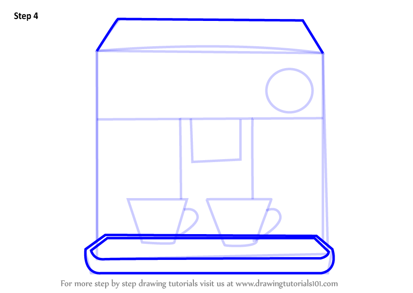 Learn How To Draw A Coffee Maker Home Appliances Step By