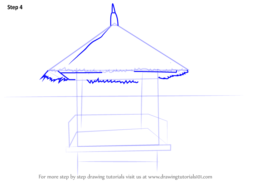learn how to draw a beach hut houses step by step