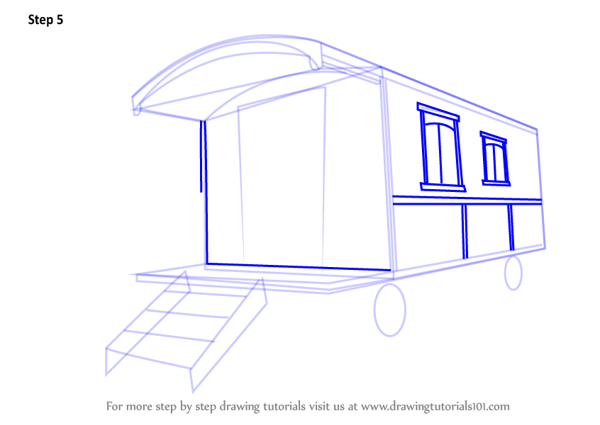 how to draw a caravan step by step