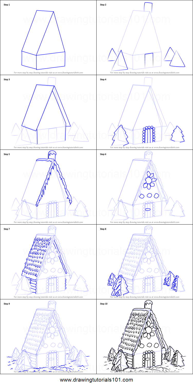 How to draw gingerbread house printable step by step for How to make a house step by step