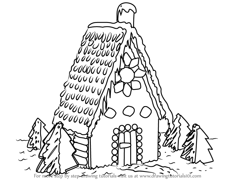 learn how to draw gingerbread house houses step by step drawing tutorials