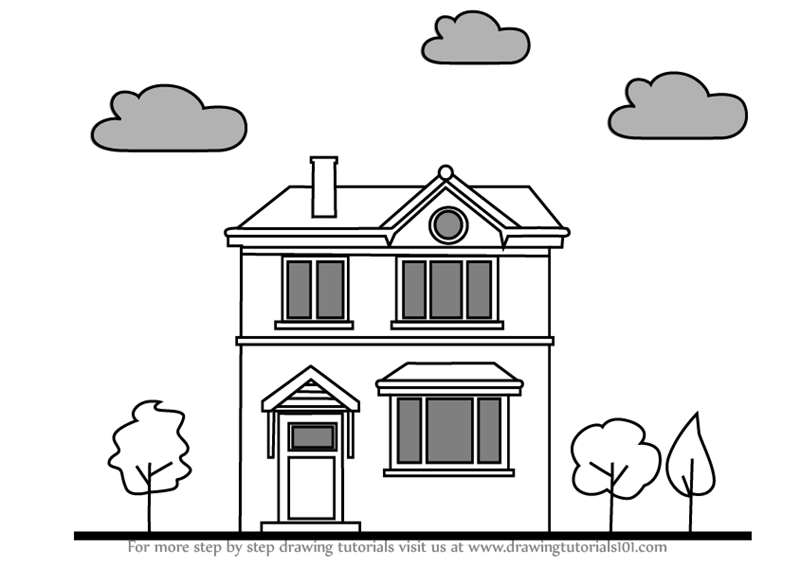 Learn how to draw a house houses step by step drawing tutorials
