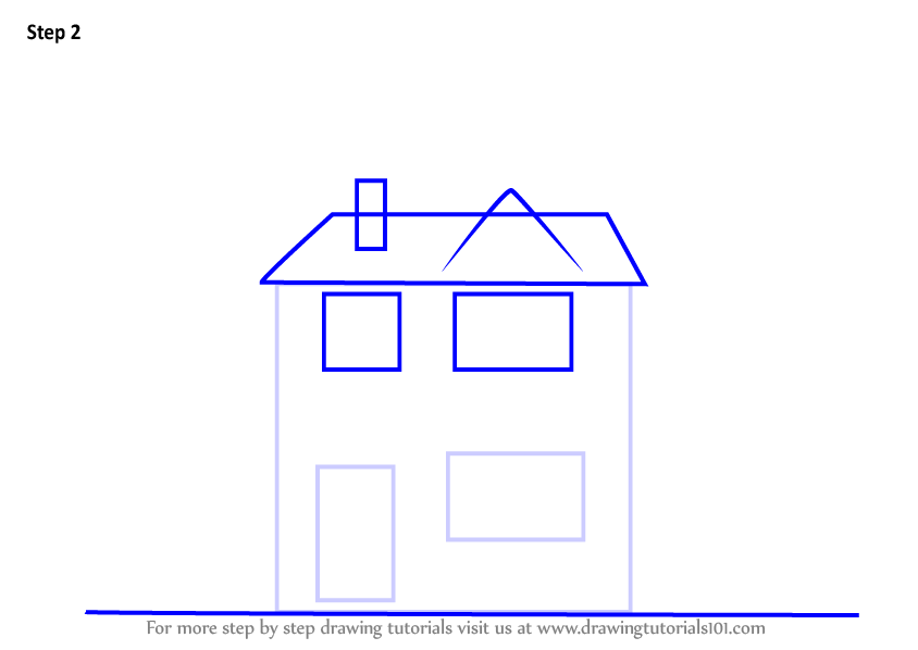 Step by step how to draw a house for How to draw a two story house step by step