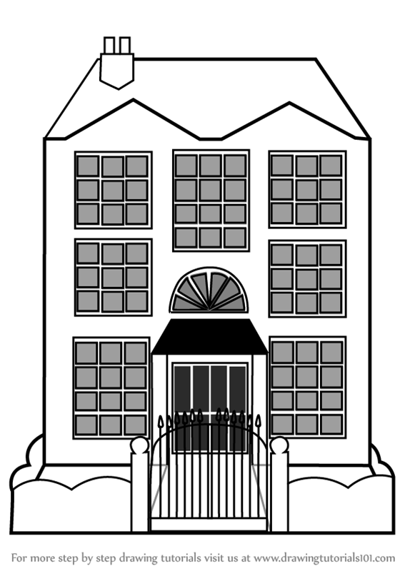 Learn How To Draw Mansion House Houses Step By Step Drawing
