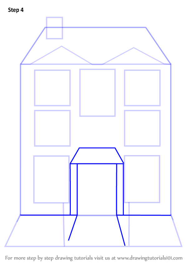 Mansion Drawing: Learn How To Draw Mansion House (Houses) Step By Step