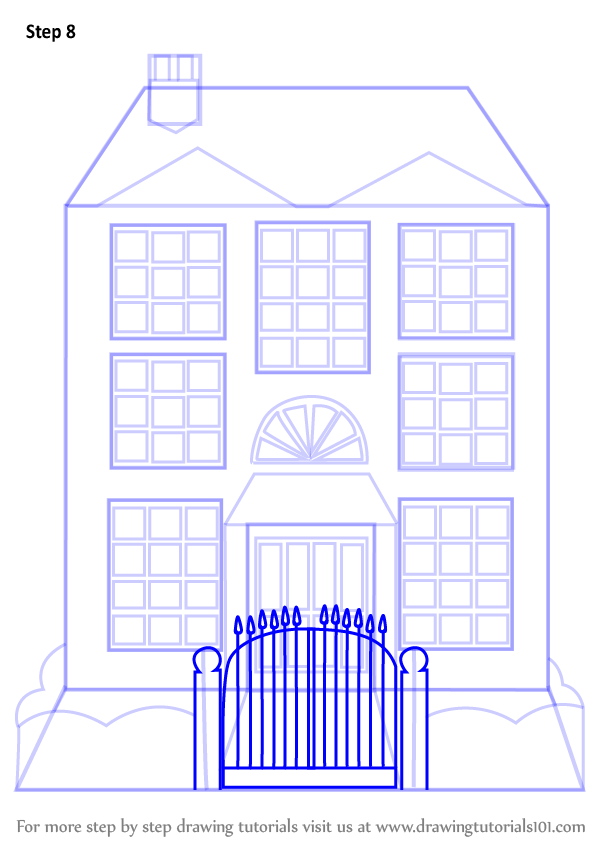 Learn How To Draw Mansion House (Houses) Step By Step