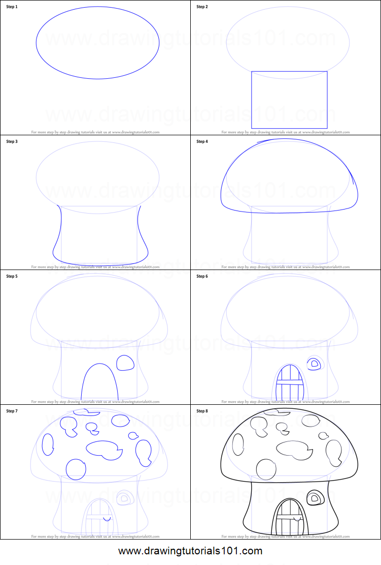 How to draw a mushroom house printable step by step for Building a home step by step