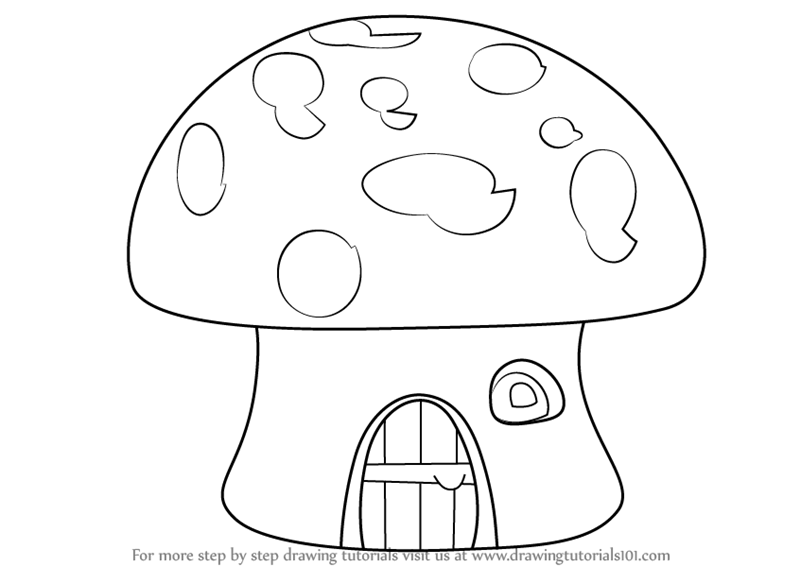 learn how to draw a mushroom house houses step by step drawing tutorials - House Drawing Easy