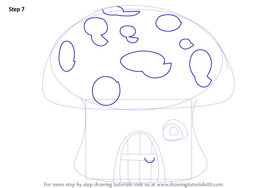 Step by step how to draw a mushroom house for How to draw a mushroom