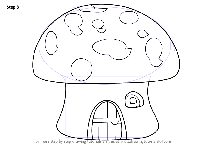 Learn how to draw a mushroom house houses step by step for How to make a house step by step