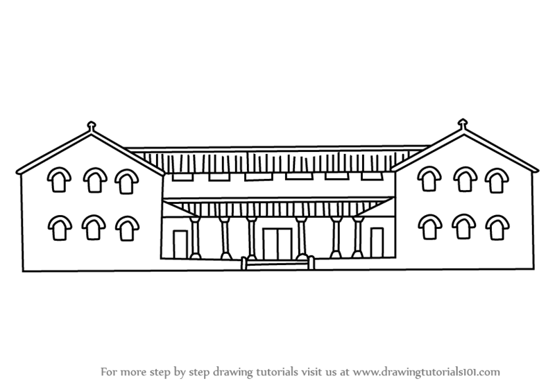 Learn How To Draw A Roman House (Houses) Step By Step : Drawing Tutorials