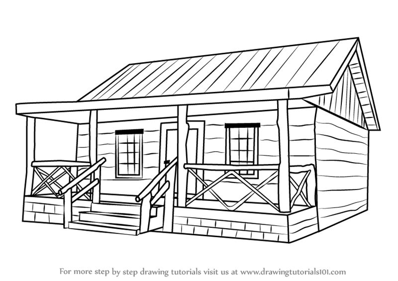 Learn How To Draw A Wood Cabin Houses Step By Drawing Tutorials