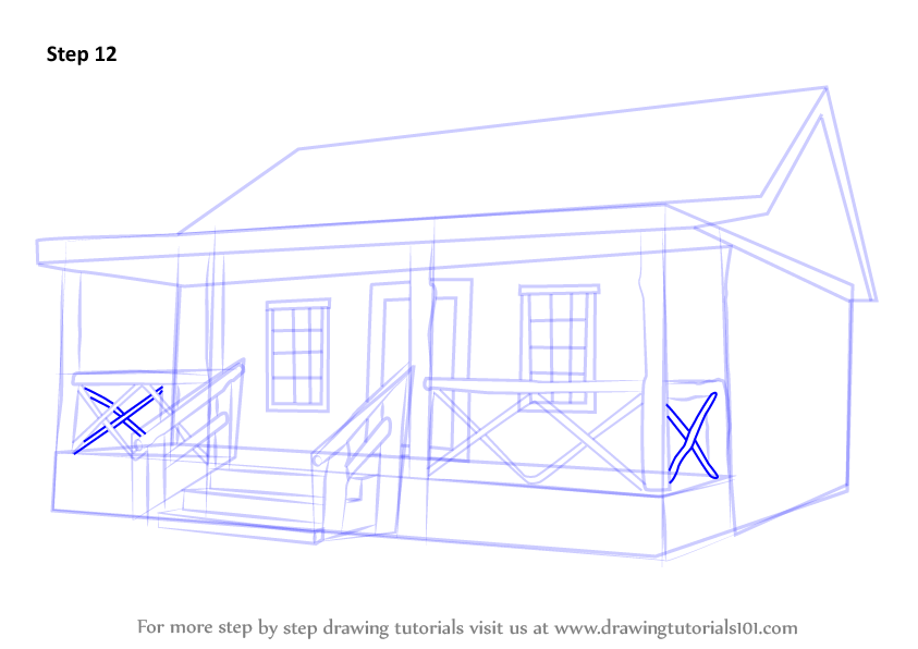 Log cabin stick drawings worksheet coloring pages for How to draw a log cabin step by step
