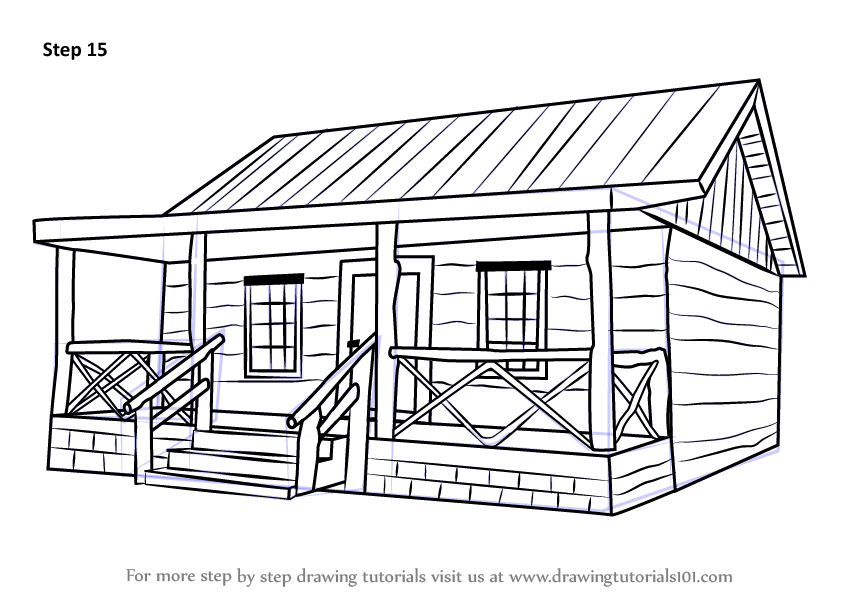 Learn how to draw a wood cabin houses step by step Cabin drawings