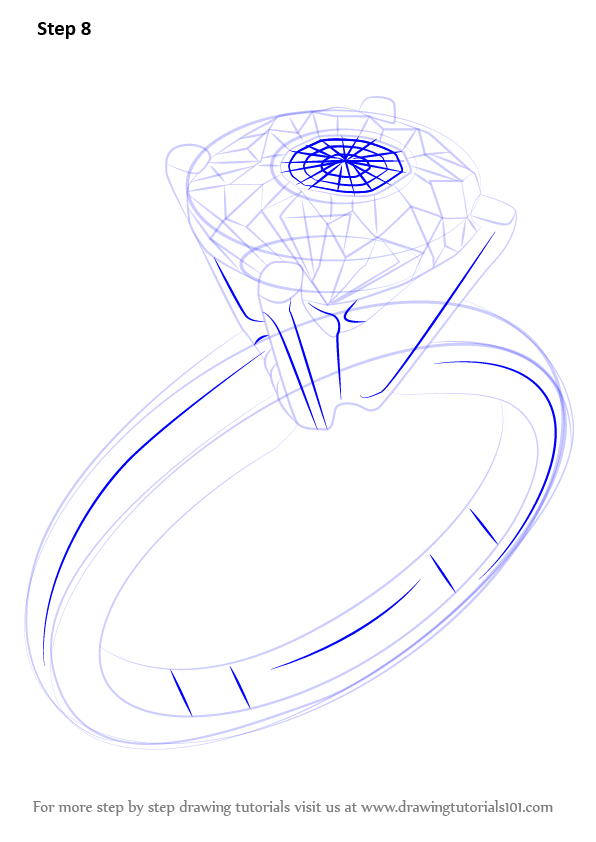 learn how to draw a diamond ring jewellery step by step