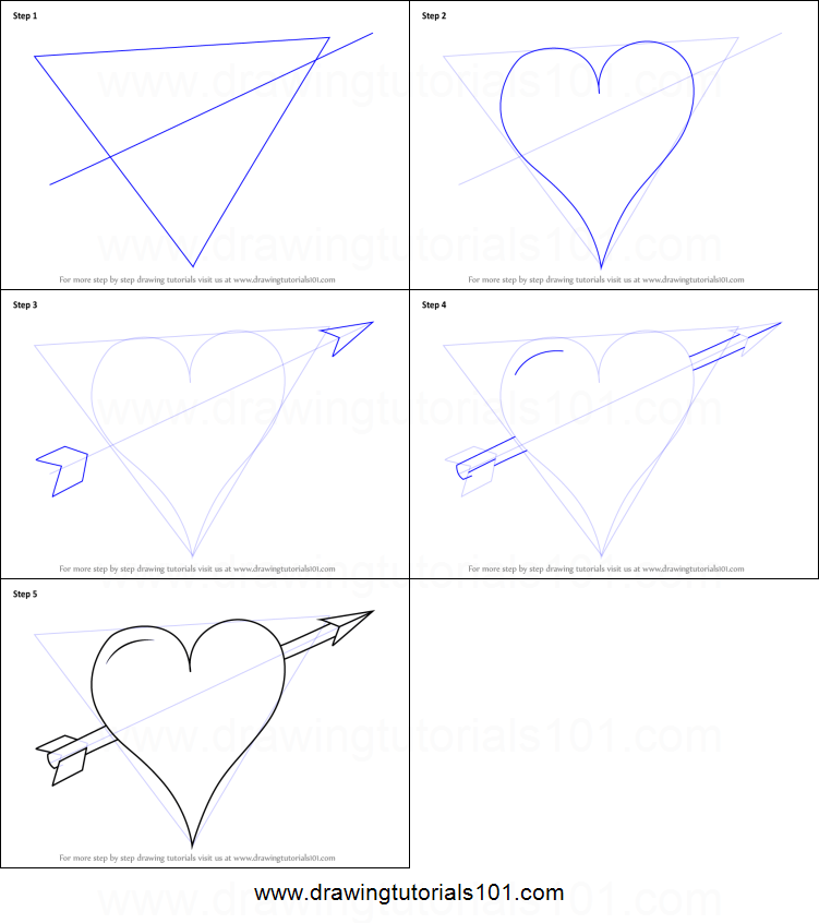 How To Draw Heart With Arrow Printable Step By Step