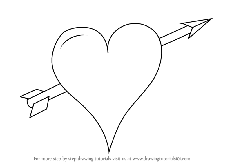 learn how to draw heart with arrow love step by step