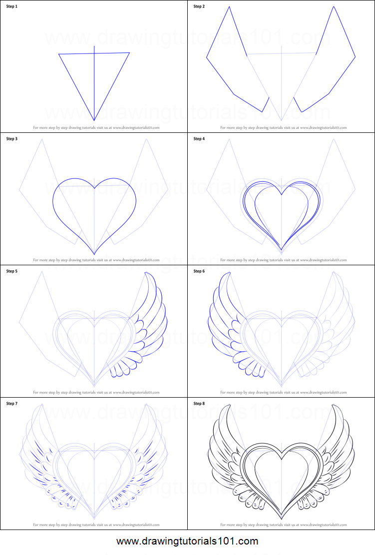 How To Draw Heart With Wings Printable Step By Step