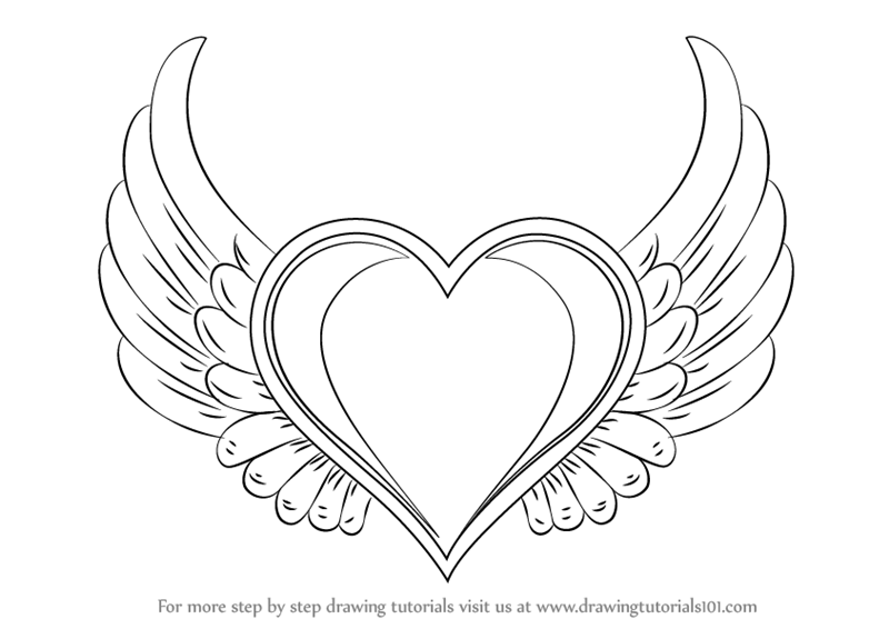 Learn how to draw heart with wings love step by step drawing tutorials