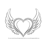 How to Draw Heart with Wings