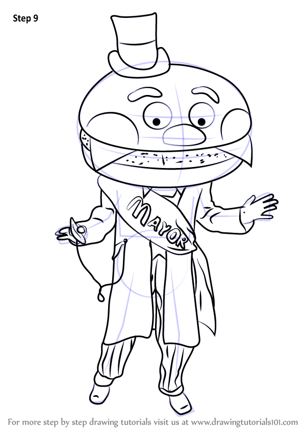 Learn How To Draw Mayor Mccheese Mascots Step By Step