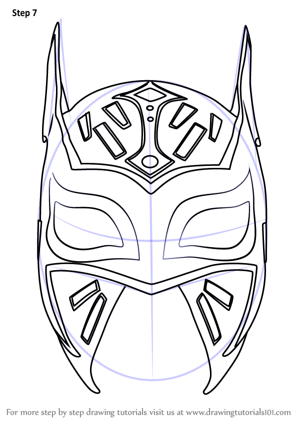 how to draw Sin Cara Mask step 7