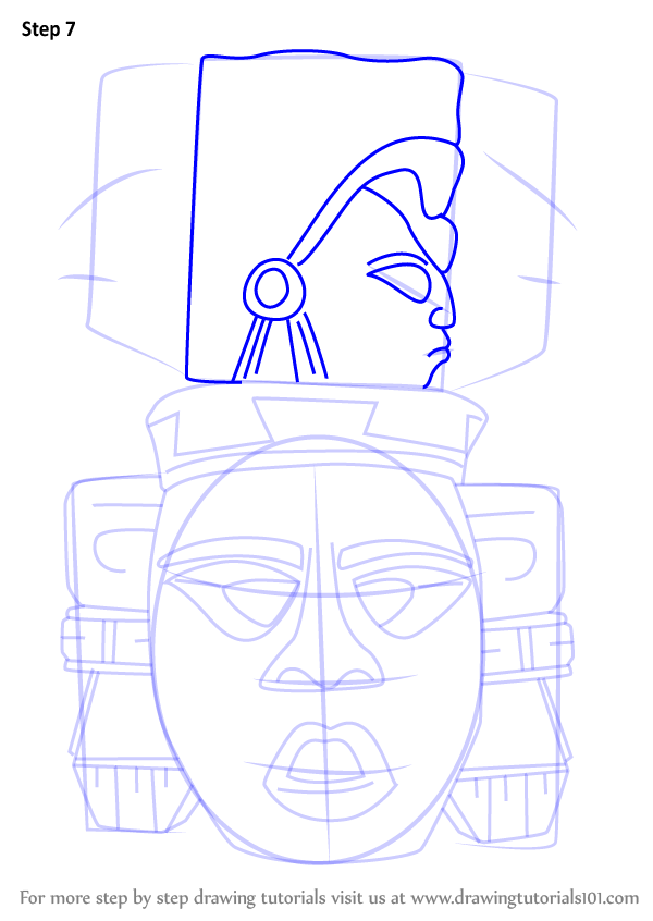Learn How To Draw Indian Mayan Aztec Mask Masks Step By