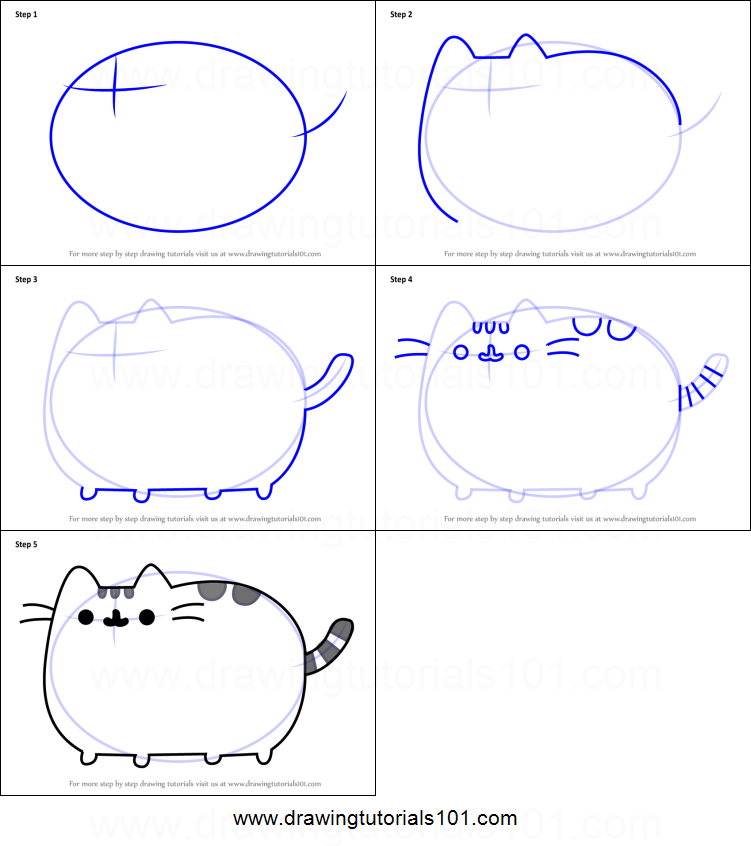 How To Draw Pusheen The Cat Printable Step By Drawing Sheet DrawingTutorials101