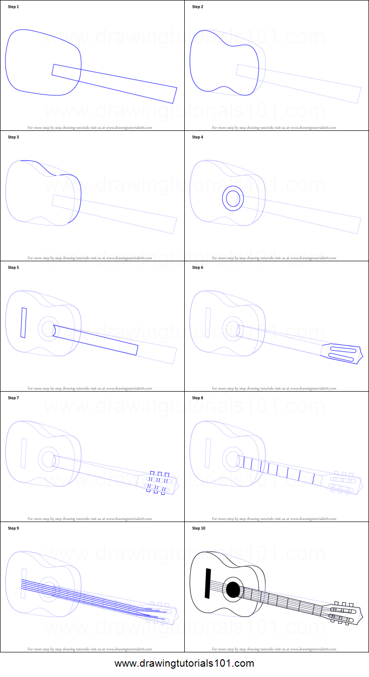 How To Draw A Acoustic Guitar On Floor Printable Step By Step