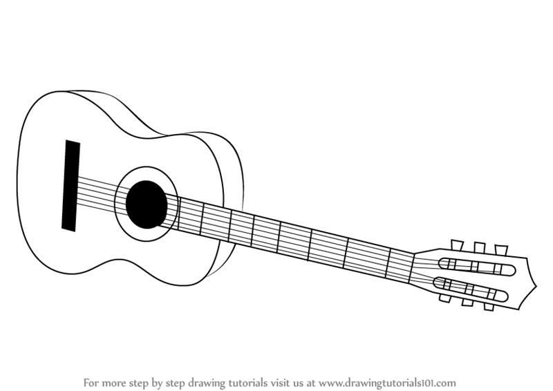 Learn How To Draw A Acoustic Guitar On Floor Musical Instruments Step By Step Drawing Tutorials
