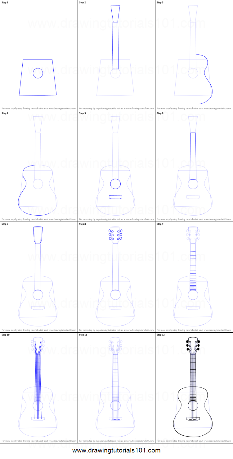 How To Draw An Acoustic Guitar Printable Step By Step Drawing Sheet