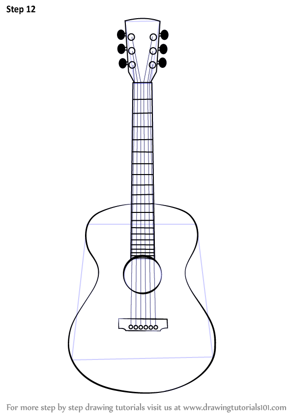 Learn How To Draw An Acoustic Guitar Musical Instruments Step By Step Drawing Tutorials