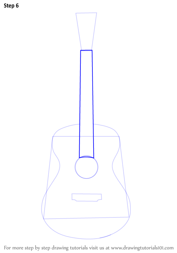 Learn How To Draw An Acoustic Guitar Musical Instruments Step By