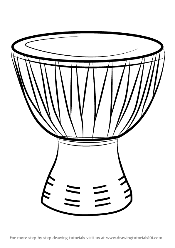 Learn How To Draw An African Drum Musical Instruments Step By Drawing Tutorials