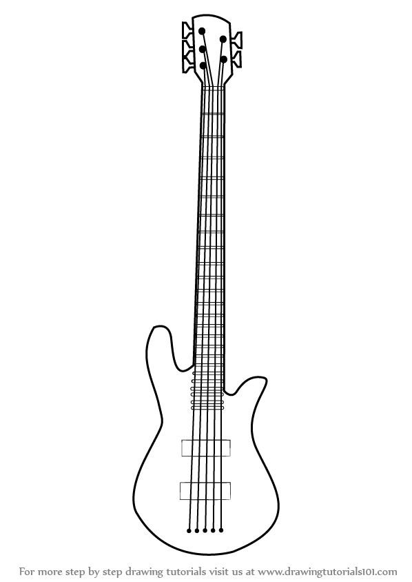 Learn How To Draw A Bass Guitar Musical Instruments Step By Drawing Tutorials