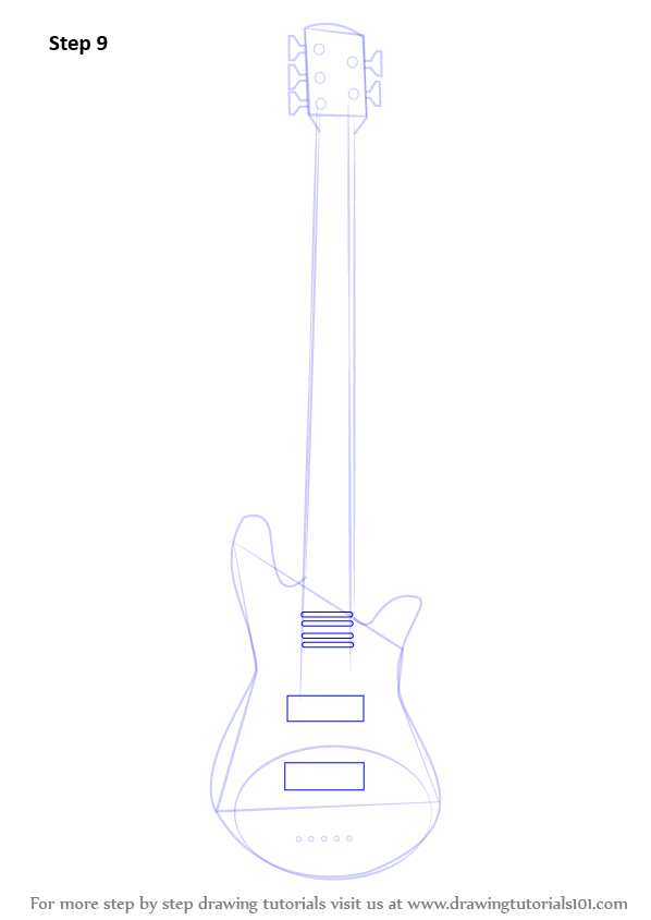 Learn How to Draw a Bass Guitar (Musical Instruments) Step ...