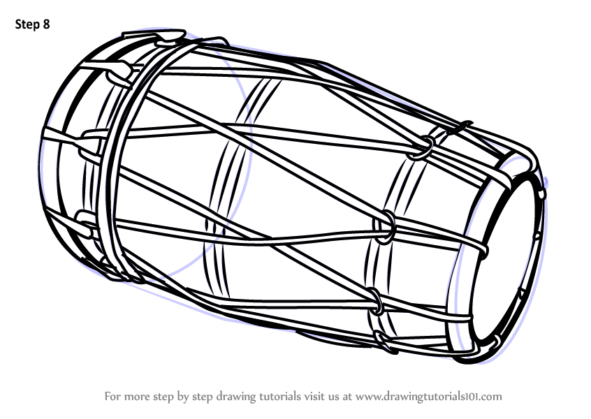 Step by Step How to Draw a Dholak