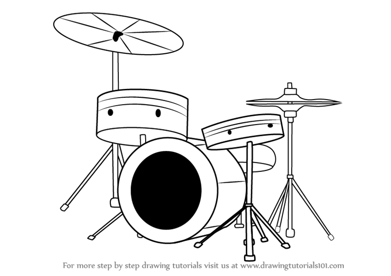 Learn How To Draw Drums Musical Instruments Step By Step Drawing