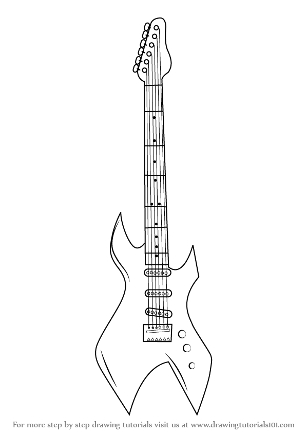 learn how to draw an electric guitar  musical instruments  step by step   drawing tutorials
