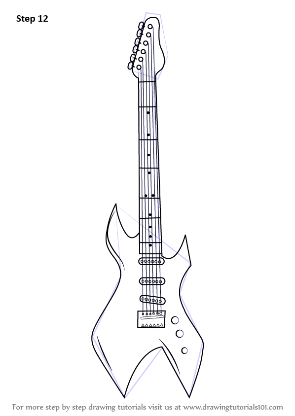 Learn How to Draw an Electric Guitar (Musical Instruments) Step by ...