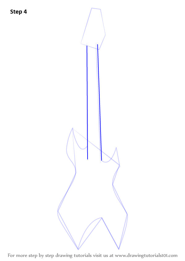 how to draw a cartoon electric guitar step by step