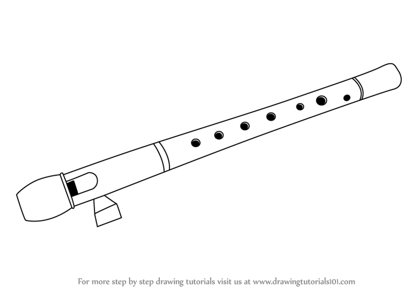 Learn How to Draw a Flute (Musical Instruments) Step by ...