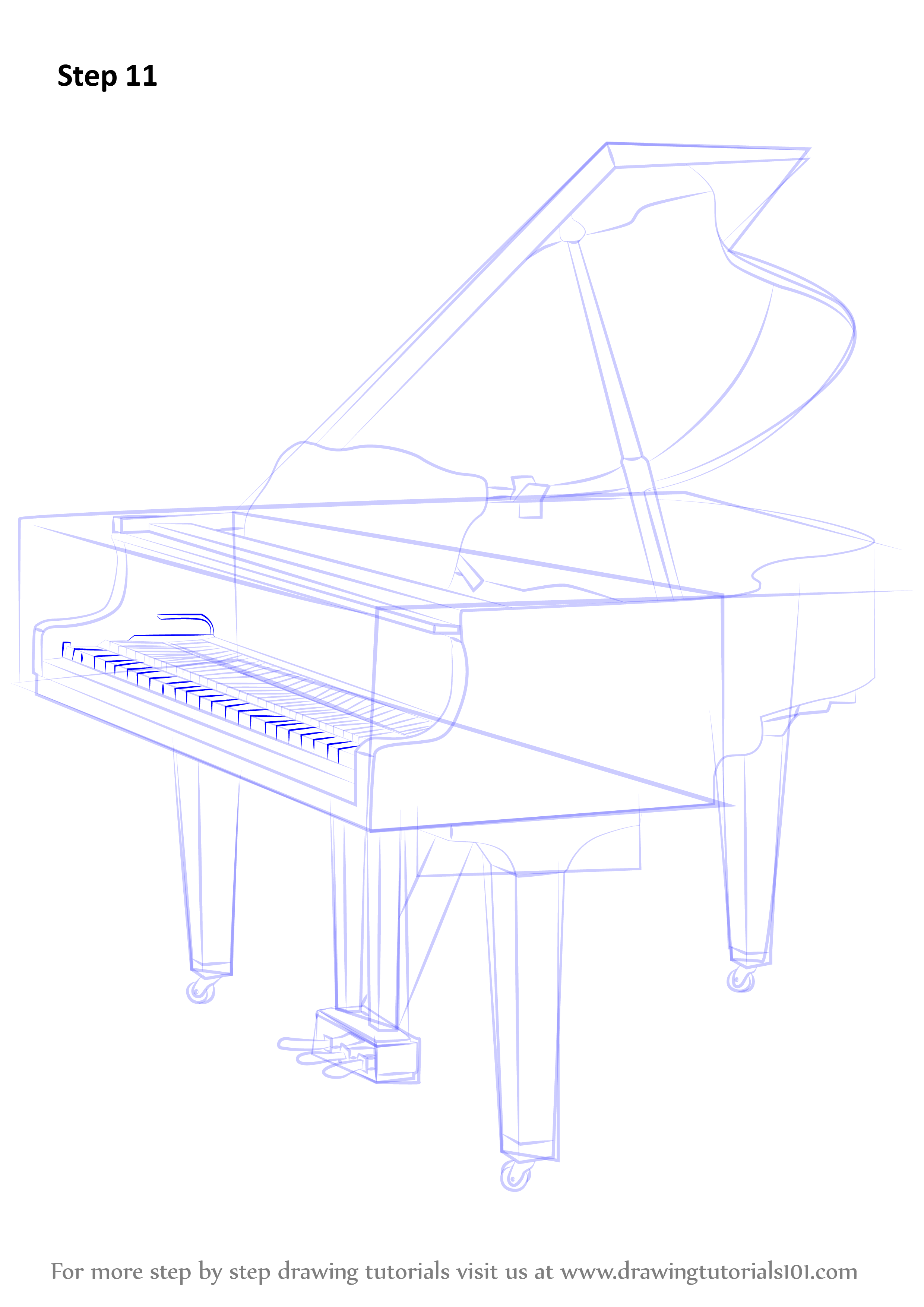 Learn How to Draw a Grand piano (Musical Instruments) Step ...