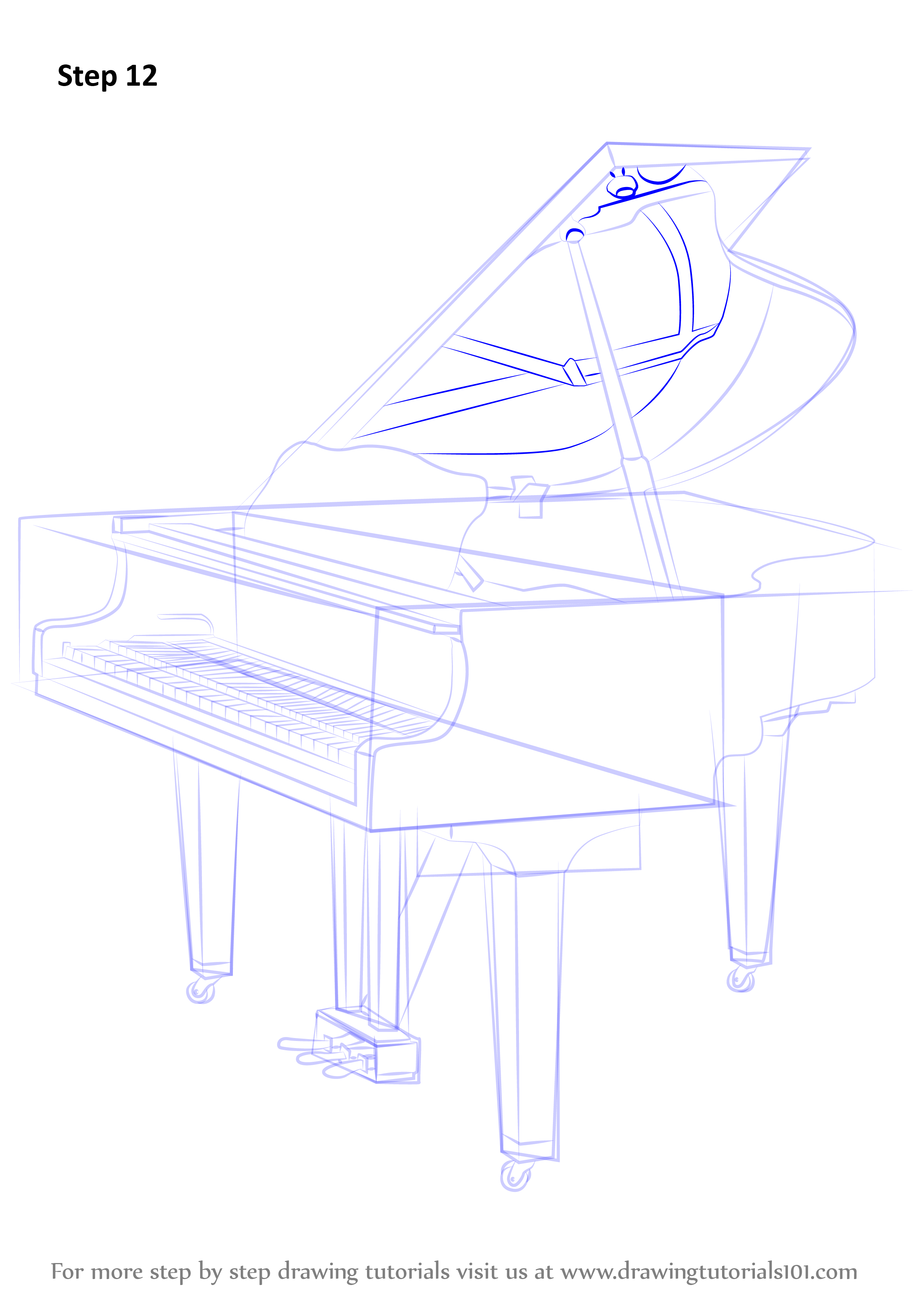 Step By Step How To Draw A Grand Piano
