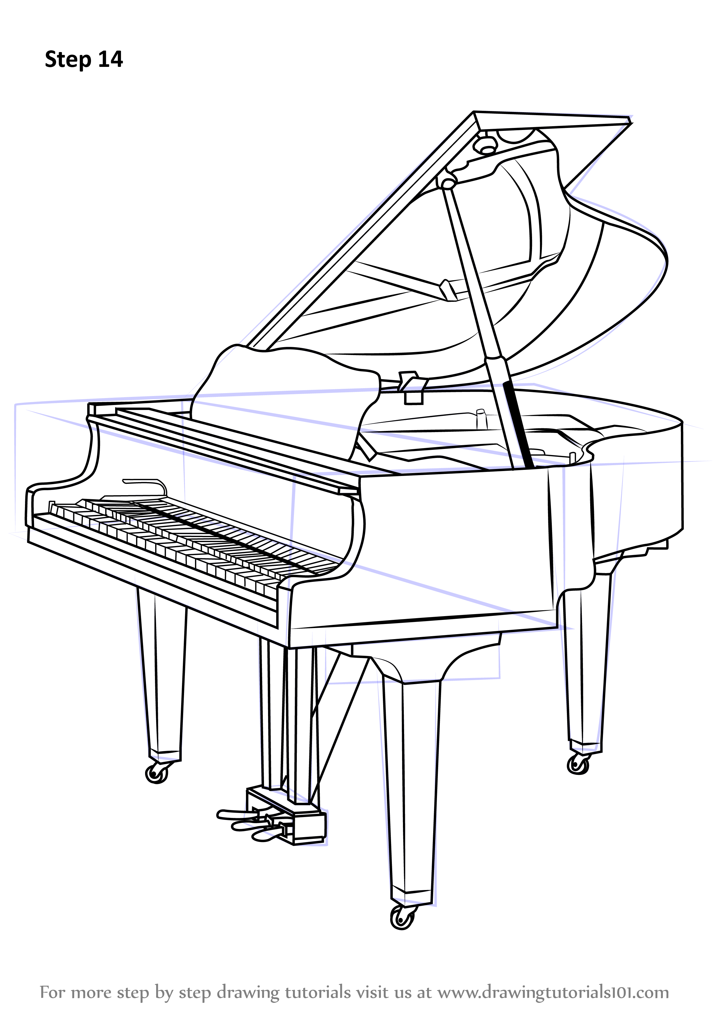 Learn How To Draw A Grand Piano Musical Instruments Step