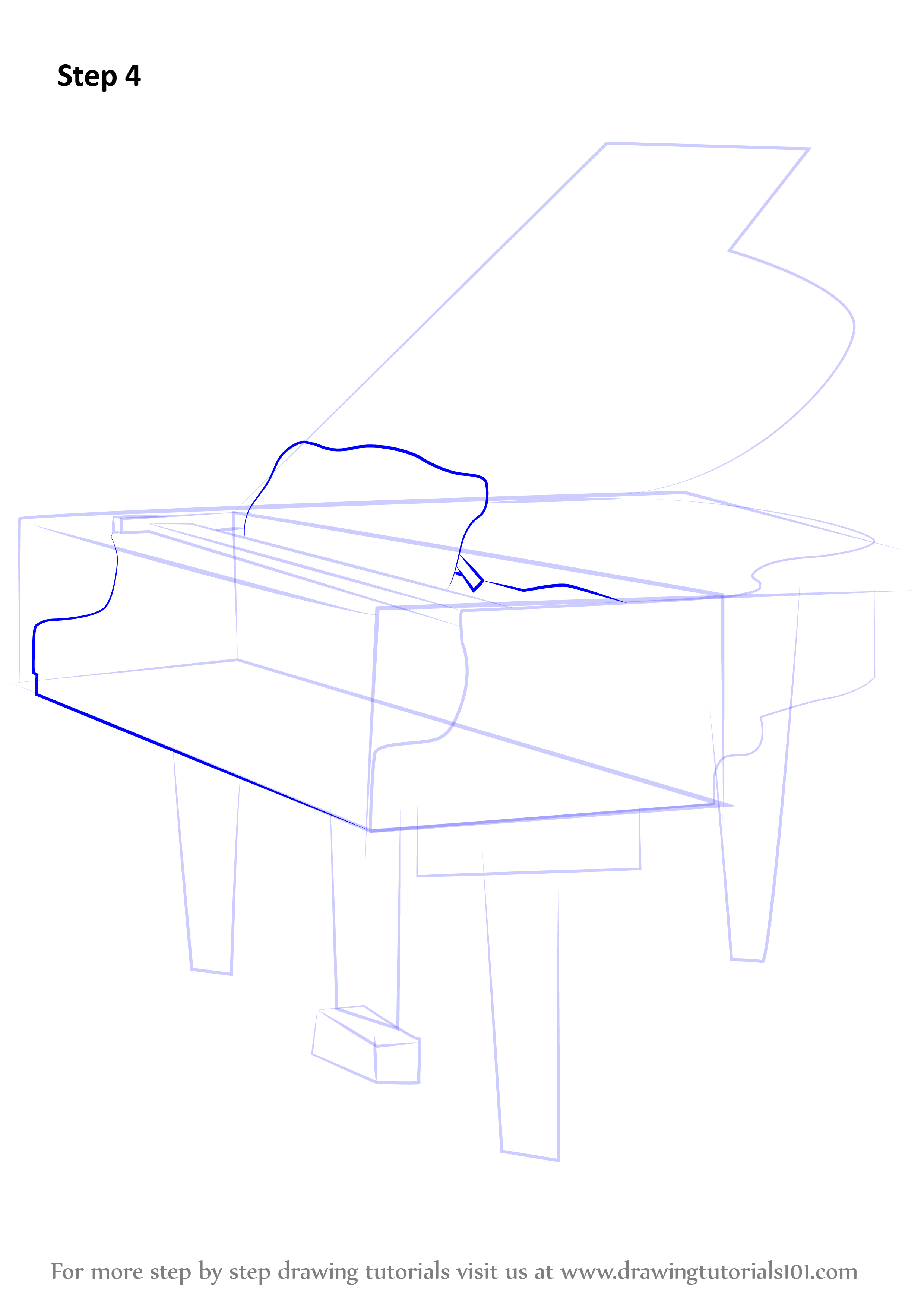 Learn How To Draw A Grand Piano (Musical Instruments) Step