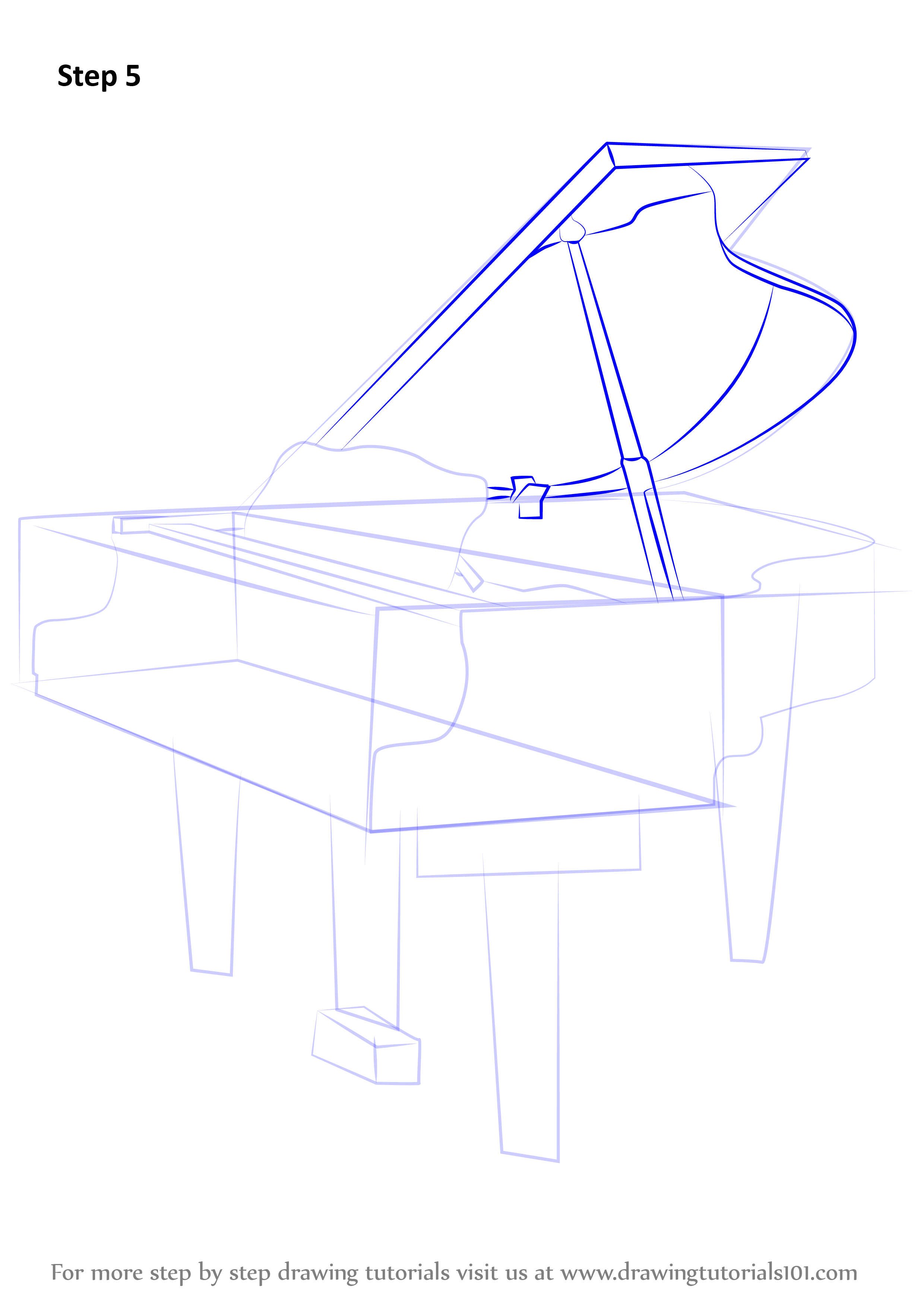 how to draw an upright piano
