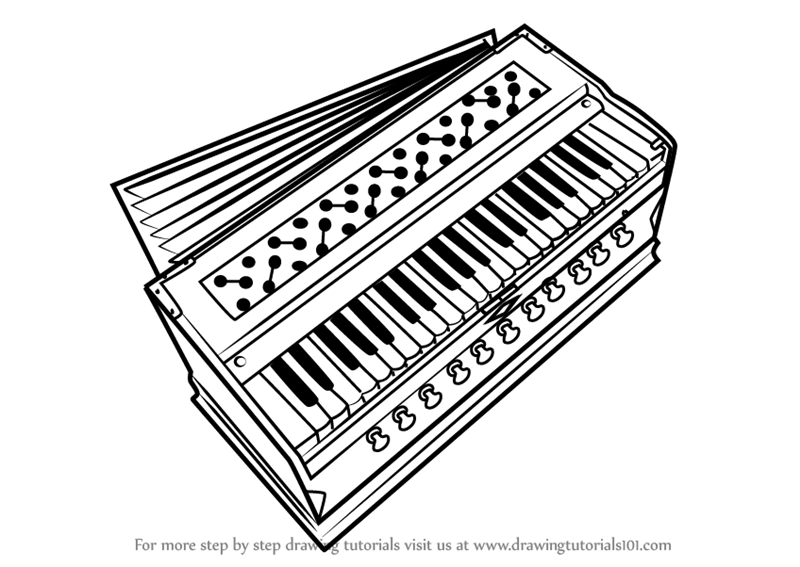 learn how to draw harmonium  musical instruments  step by