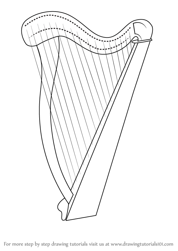 Learn How to Draw a Harp (Musical Instruments) Step by ...