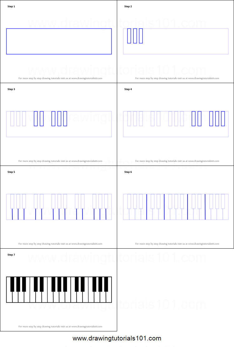 How to Draw Piano Keys printable step by step drawing sheet ...